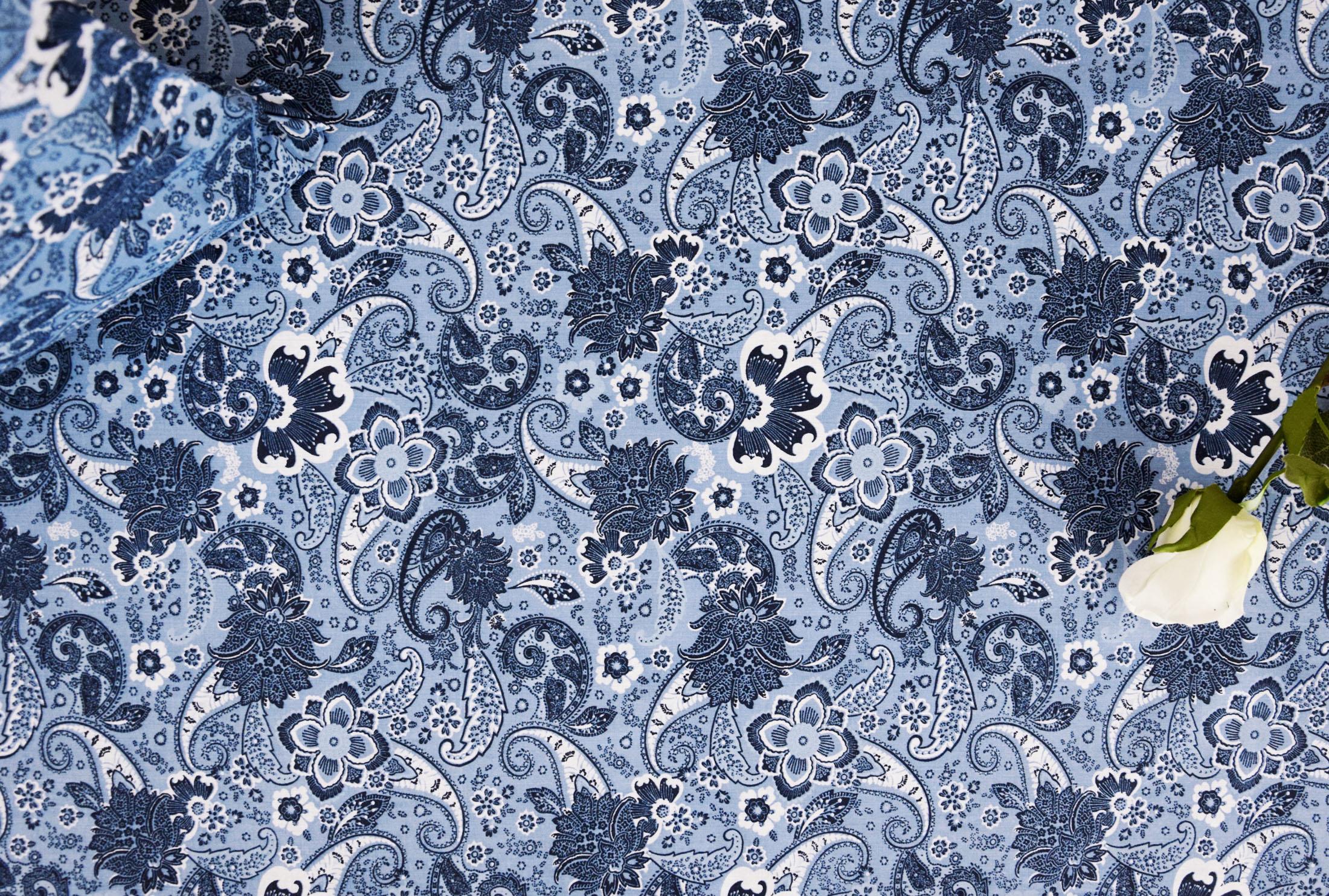 stoff baumwolle dekostoff orientalisch muster dunkelblau bettw sche kissenbezug ebay. Black Bedroom Furniture Sets. Home Design Ideas