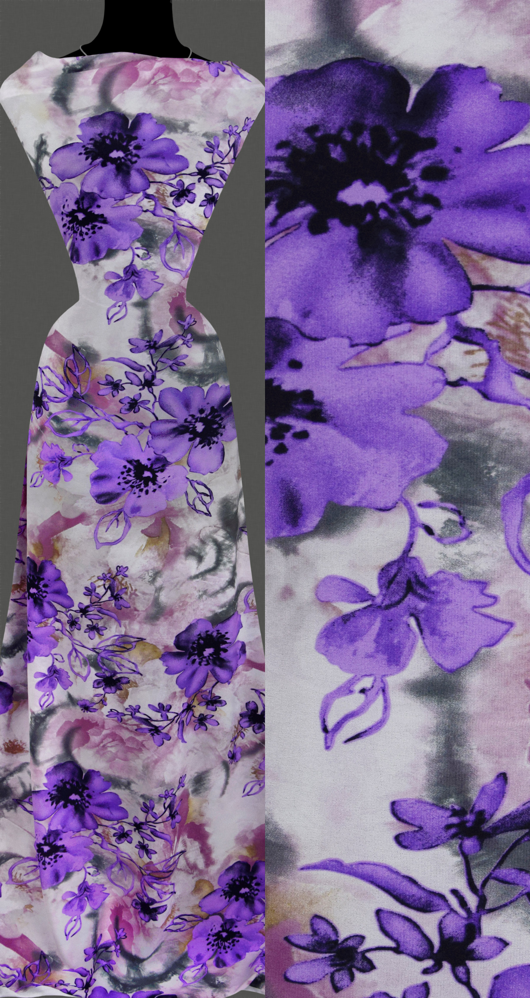stoff strickstoff elastisch violettfarbene blumen muster blumenmuster ebay. Black Bedroom Furniture Sets. Home Design Ideas