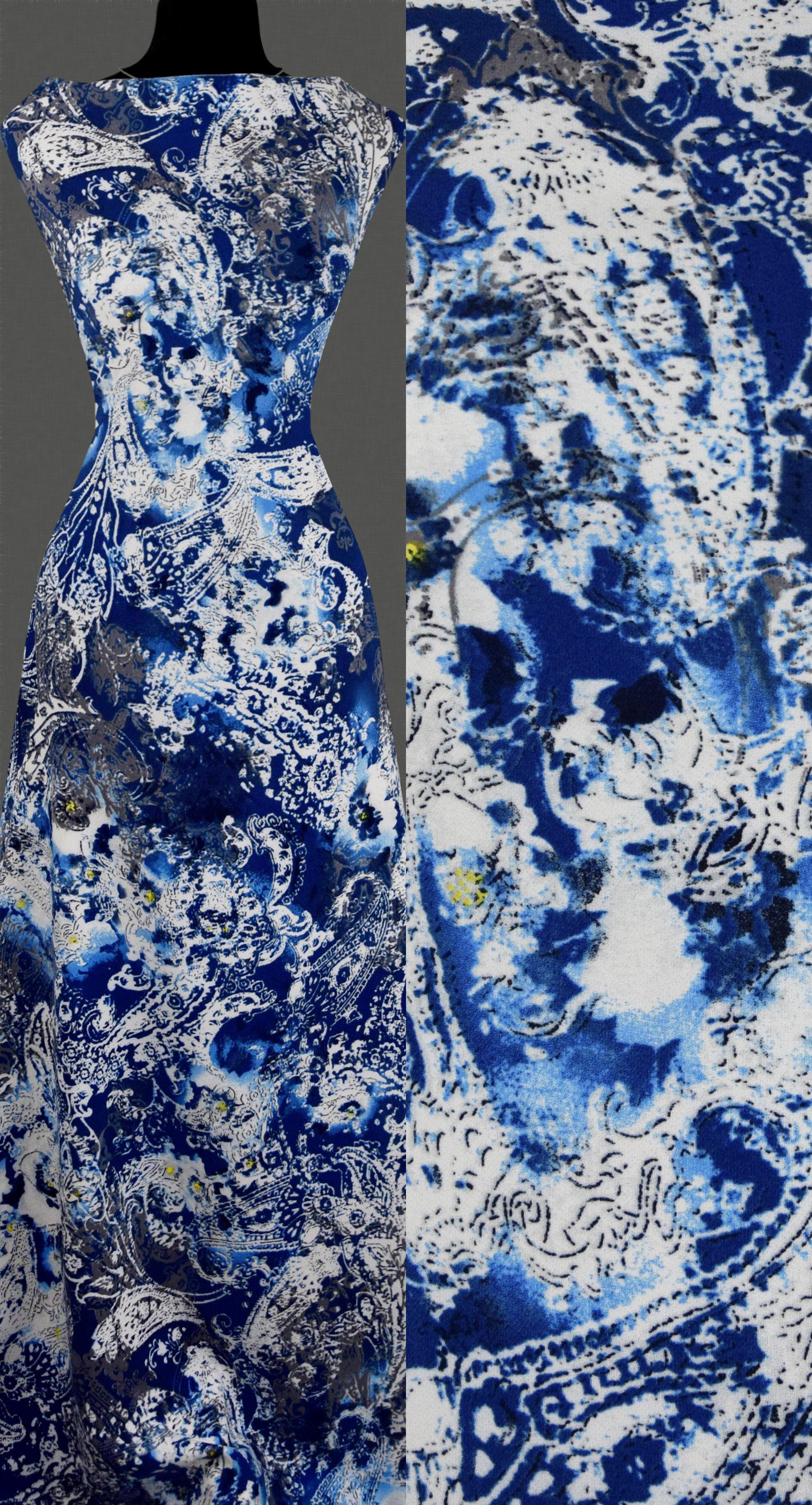 stoff strickstoff elastisch orientalisch abstrakt muster blau ausverkauf ebay. Black Bedroom Furniture Sets. Home Design Ideas